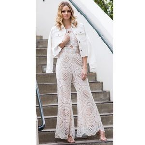 Sugarlips White Crochet Lace Backless Jumpsuit